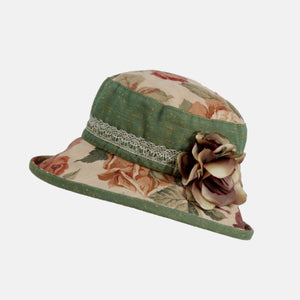 Vintage Fabric Floral Hat with flower