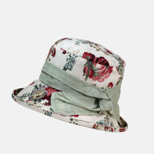 Vintage Fabric Lightweight Floral Hat with Cotton Sash
