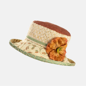 PT25 - Vintage Fabric Hat with Orange Flower