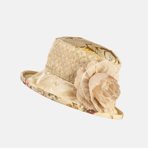 PT25 - Vintage Fabric Hat with Cream Flower