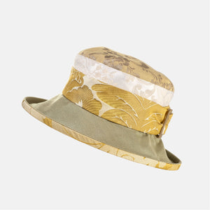 Vintage Fabric Damask Hat with Buckle and Small Brim