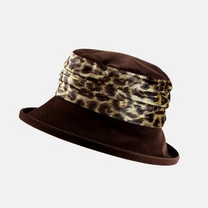 Vintage Brown Velvet and Leopard Print