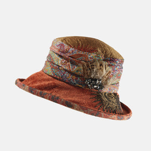 Vintage Fabric Paisley Terracotta Hat with Feather Decoration