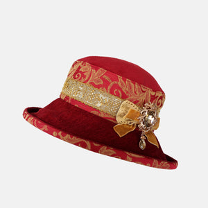 PT25 - Vintage Fabric Red and Gold with Jewel Decoration