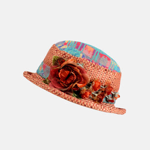 Vintage Fabric Small Boned Brim Hat with Flower