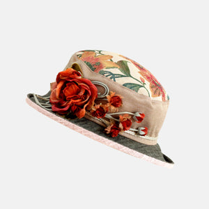 Vintage Fabric Small Boned Brim Hat with Silk Flower