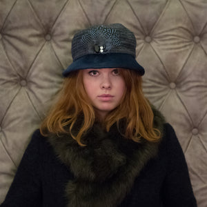 Yorkshire Tweed and Velvet Soft Brim Cloche Hat