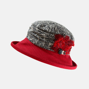 Boucle Hat with Boned Brim