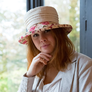 Floral Boned Brim with Cream Top and Pintuck Detail