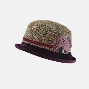 PT38 - Tapestry and Velvet Boned Brim Hat