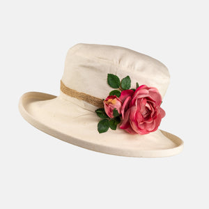 Cream Boned Hat with Flower Decoration