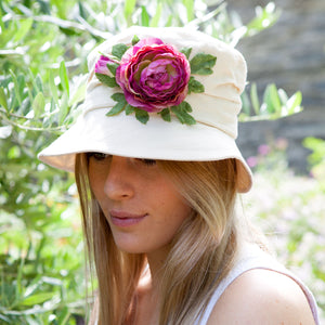 PT51 - Cream Cotton Cloche Hat with Flower Decoration