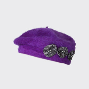 PT53 - Fluffy Angora Beret with Satin Embellishments