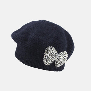 PT61 - Knitted Beret with Beaded Bow