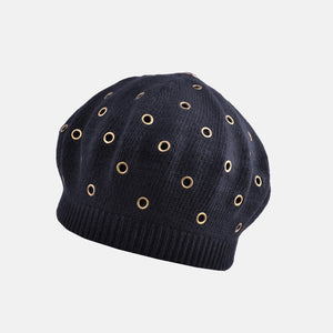 PT63 - Stylish Knitted Beret with Embellished Holes