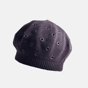 Stylish Knitted Beret with Embellished Holes