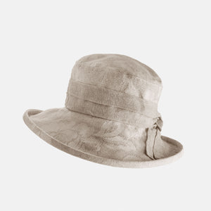 Damask Cotton Hat with Hessian Band