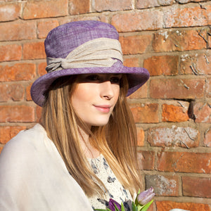Linen Boned Hat with Hessian Band