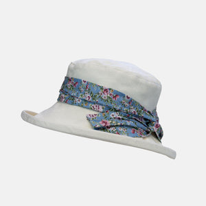 Cream Damask Pattern Boned Hat with Floral Sash
