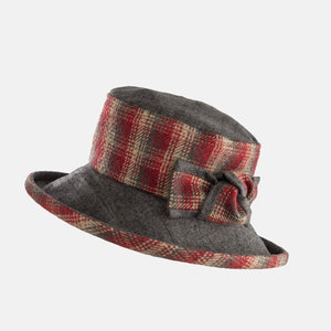 PT74 - Checked Hat with Boned Brim and Matching Bow