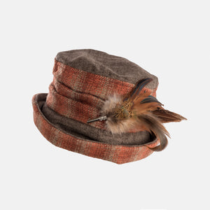 Checked Hat with Boned Brim and Feather Brooch Decoration