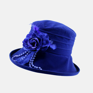 Water Resistant Velour Hat with Flower Decoration