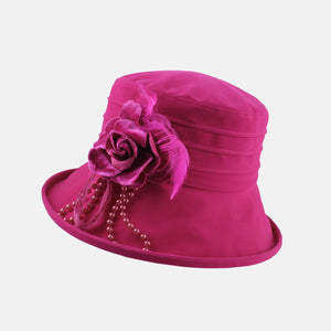 PT90 - Water Resistant Velour Hat with Flower Decoration