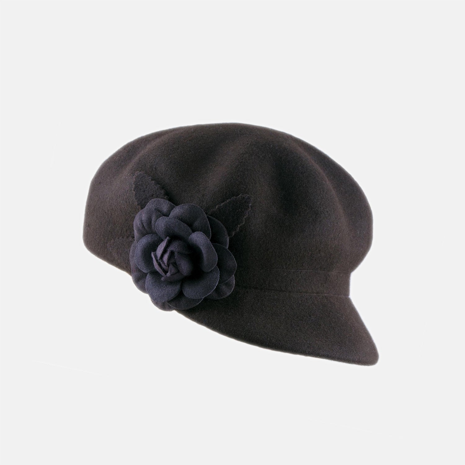 7614042491e PT99 - Felted Wool Cap with Flower Decoration – Proppa Toppa Hats