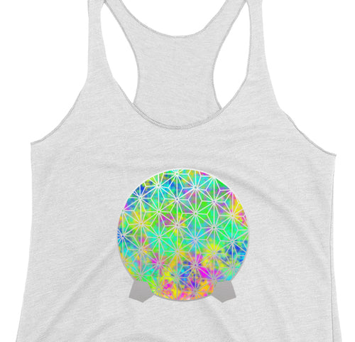 Neon Spaceship Earth - Ladies Racerback Tank