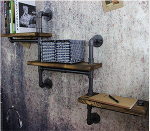 Tiered Industrial Wall Shelves
