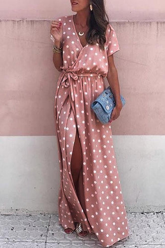 Sexy Pink Wave Point Maxi Vacation Dress
