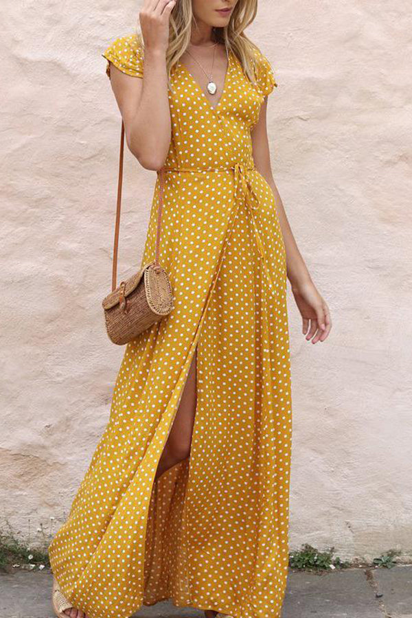 Casual Vacation V-Neck Polka-Dot Vacation Dress