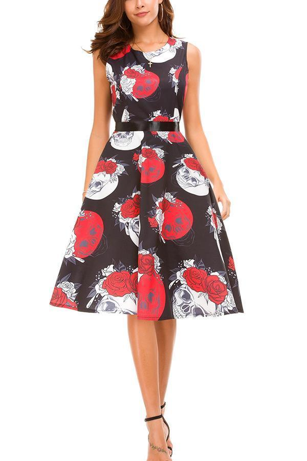Halloween Round Collar, Sleeveless Print, Fuguheben Swagger Dress