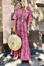 Load image into Gallery viewer, Fashion V-Neck Flare Sleeve Print Vacation Maxi Dress