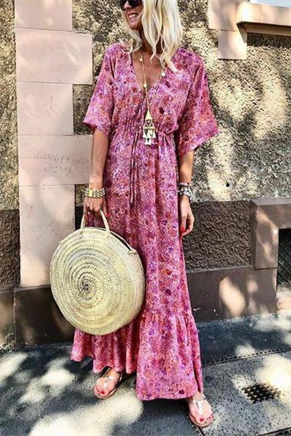 Fashion V-Neck Flare Sleeve Print Vacation Maxi Dress