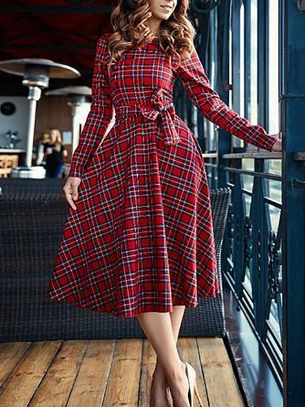 Fashion Long Sleeve Red Plaid Midi Dress
