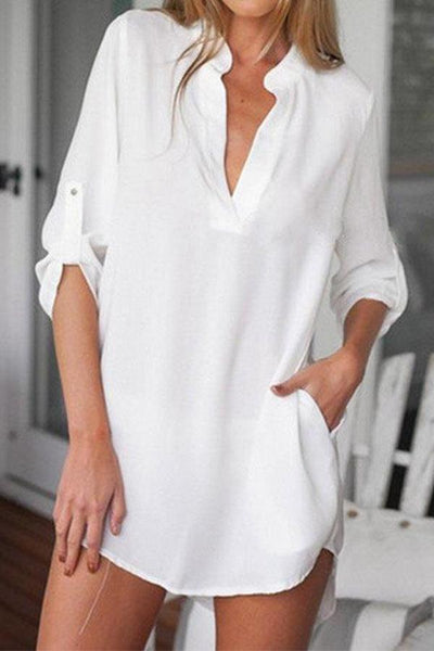 V Neck Curved Hem Long Sleeve  Blouses