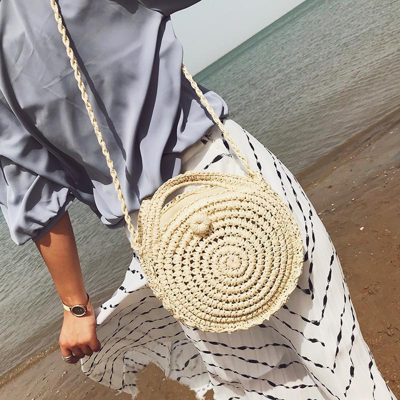 Vacation Fashion Casual Plain Knitting Round Shape One Shoulder Hand Bag