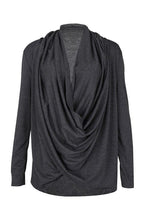 Load image into Gallery viewer, Cowl Neck  Asymmetric Hem  Pleated Bodice T-Shirts
