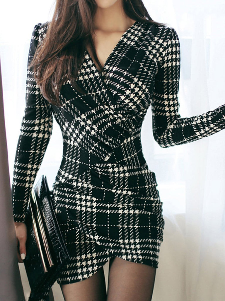 Sexy V-Neck Plaid Mini Bodycon Dress