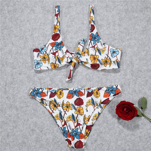 Flower Printed Strap Swimsuit