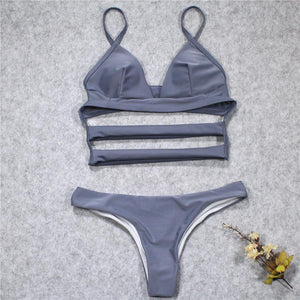 Sexy Cross Straps Plain Bikini Swimwear