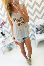 Round Neck  Glitter  Printed Short Sleeve T-Shirts