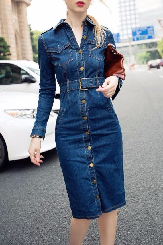 Fashion Plain Sleeve Bodycon Denim Dress