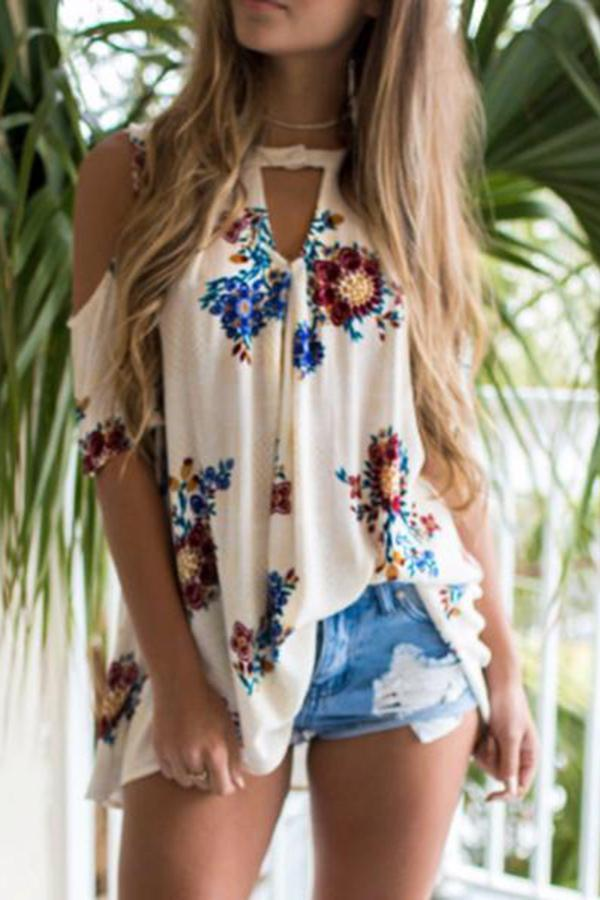 Patchwork  Printed  Bell Sleeve Short Sleeve T-Shirts