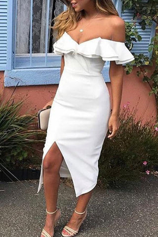 Off Shoulder  Flounce Slit  Plain  Short Sleeve Bodycon Dresses