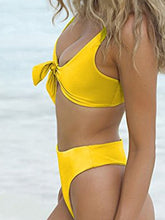 Load image into Gallery viewer, Spaghetti Strap  Bowknot  Plain Bikini