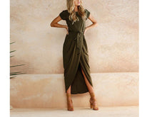 Load image into Gallery viewer, Random Elegant Short Sleeves Splited Hem Maxi Dresses