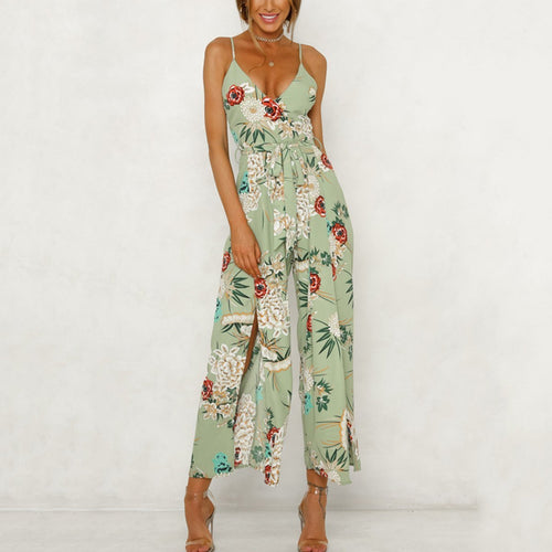 Fashion Green Floral Print Vacation Jumpsuit