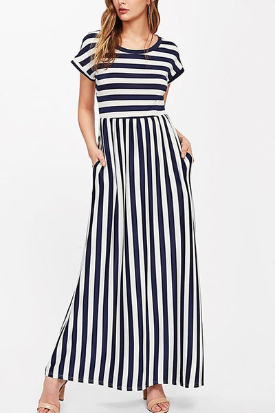 Casual Short Sleeves Stripe Vacation Maxi Dress